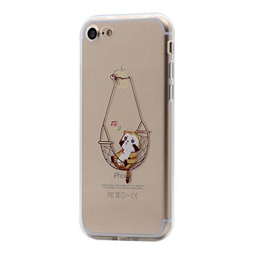 iPhone-7-Custodia-Cover-Hamyi-Divertente-Motivo-Trasparente-Morbido-TPU-Silicone-Protettiva-Caso-per-Apple-iPhone-7-2016-Cantare-gatto-sullamaca