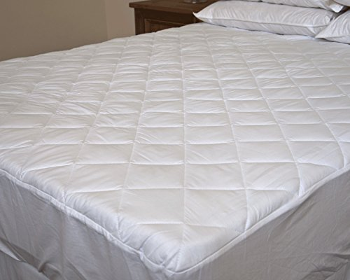100% Egyptian Cotton SINGLE SIZE Quilted Mattress Protector – 30cm Fitted Deep Skirt from Lancashire Bedding