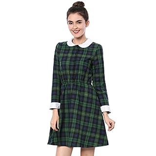 Allegra K Damen Contrast Bubikragen Colorblock Karo Minikleid Kleid, S (EU 38)/Grün