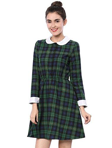 er Langarm Peter Pan Skater Baumwolle Kariertes Hemdkleid mit Kragen Grün L(EU 44) (Gingham Kleid Kostüme)