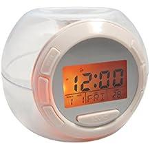 Jocca Reloj Despertador con Sonidos Naturales y Luz, Plástico, Blanco, 8.5 x 11 x 10 cm