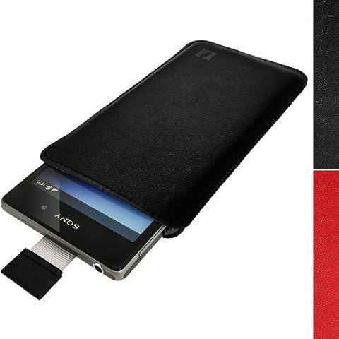igadgitz Luxus Beutel Pouch Schwarz Ledertasche Schutzhülle für Sony Xperia Z1 C6902 C6903 & Z2 D6503 Case Cover Mit Pull Tab
