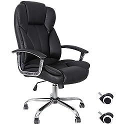 Songmics Silla de escritorio de oficina giratoria de escritorio de oficina, de cuero sintético, color negro OBG57B