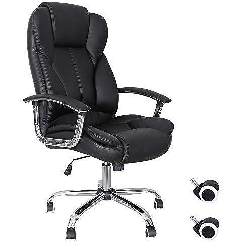 Songmics Silla de escritorio de oficina giratoria de escritorio de oficina, de cuero sintético, color negro