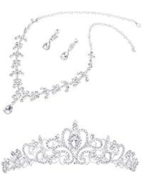Gleader flores de cristal tiara corona + collar pendiente de la fiesta de la boda para la novia y la dama de honor