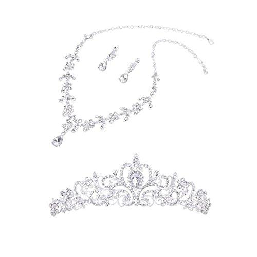 SODIAL (R) flores de cristal tiara corona + collar pendiente de la fie