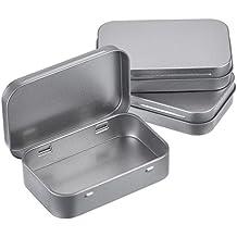 Latas con Bisagras Vacías Rectangular de Metal Plateado Contenedor de Necesidades Básicas Mini Estuche Latas de