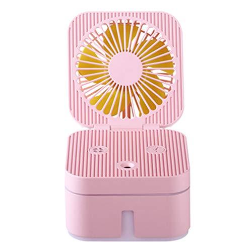 ZHANGQXIA Desktop Mini-Nachtlicht USB-Lüfter - tragbarer Spray Tischlüfterakku-Lüfter 3-Fach für Home Office (weiß),Pink (Pink Office-fach)