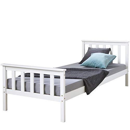 Homestyle4u 1416, Holzbett Kiefer massiv, Einzelbett aus Bettgestell mit Lattenrost, 90x200 cm, Weiß