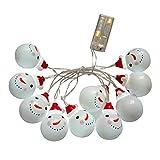 Wawer 10 LEDs Schneemann/Weihnachtsmann Fee Globe Lichterkette Lampe Weihnachtsbaum Party Garten Decor Innen- und Außen Lichterkette Glühbirne Kinder Nachtlicht (B)