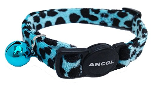 A Velvet Leopard Cat Collar, Choose Colour, (Blue)