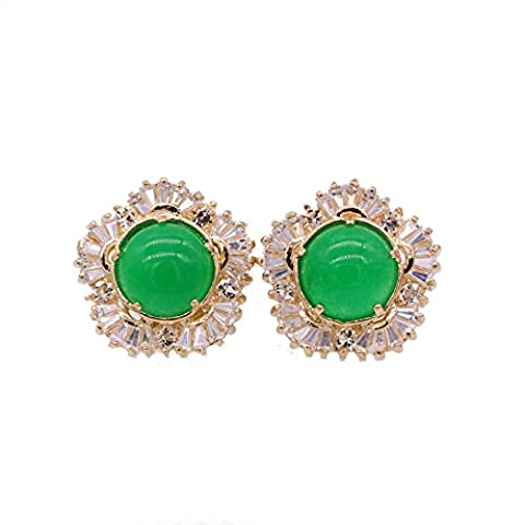 LOVE STUDIO,Malay jade Boucles d'oreilles Classic Studs Boucles d'oreilles Green Zircon Femmes Bijoux Ear Stud Earrings Engagement Earring 1 Pair (18K Gold Plated)