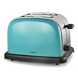 Klarstein BT-318 Toaster • 2-Scheiben-Toaster • Doppelschlitz-Toaster • für 2 Scheiben • Edelstahl • Auftau-Funktion • 6-stufige Bräunungsgradeinstellung • Bagel-Funktion • 2 Krümelschubladen • 1000 Watt • Betriebs-LED • Retro-Design • türkis