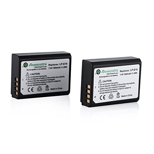2x Batterie LP-E10, Powerextra Premium Batteria per Canon EOS 1100D | 1200D | 1300D | EOS Rebel T3 | T5 | T6
