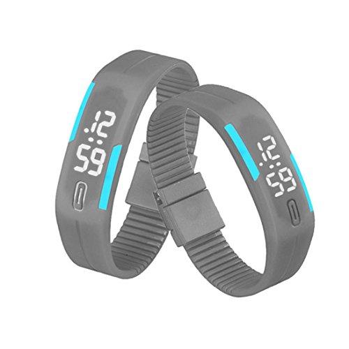 Amlaiworld Montre digitale LED, unisexe, bracelet en caoutchouc, style sport, adulte mixte, gris, 5*1,8cm