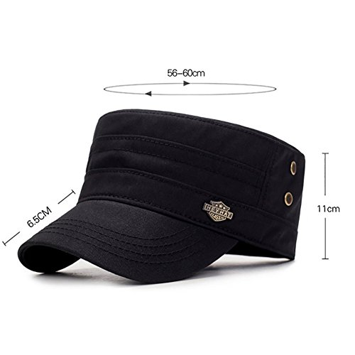 Imagen de aesy  de tapa plana,  de béisbol, ajustable algodón sombrero cabeza  de militar, para mujeres hombres negro  alternativa
