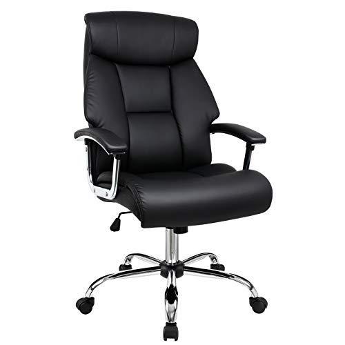 Sedia da ufficio, sedia poltrona con disegno ergonomico e schienale larga, sedia di pelle di qualità alta, supporto la testa, seduta con doppio strato (nero)