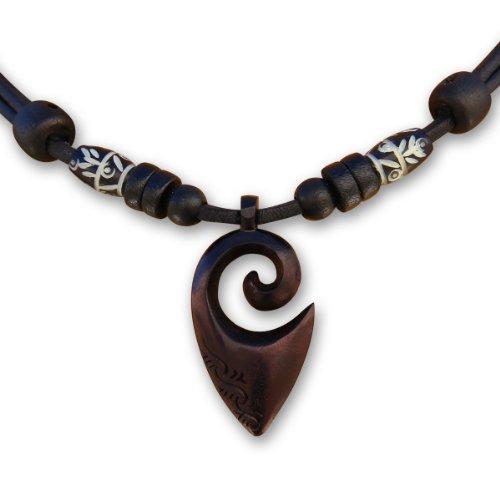 HANA LIMA ® Surferkette Halskette Freundschaftskette Lederkette Handarbeit Koru Maori Neuseeland Herrenkette Damenkette