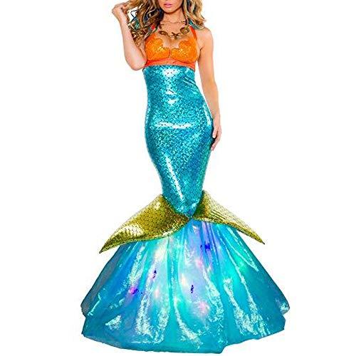 QMKJ Frauen Fancy Kleid Organza Mermaid Schwanz Rock Pailletten Fish Schwanz Outfit sexy Meerjungfrau Fisch Skala Hologramm Stretch weiche Glanz Kleid