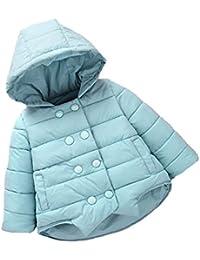 Capa de la chaqueta las muchachas del niño de pecho doble ala corta encapuchada gruesa de algodón