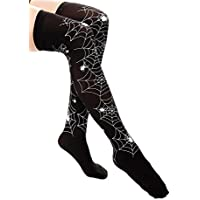 DRESS ME UP - W-043 Medias Halloween Carnaval negro imagén telaraña blanco gótico bruja