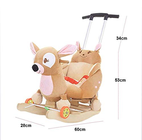 JTYX Baby Trojan Toy Rocking Chair Rocking Cradles Music Animal Rocking Horse Birthday Gift JTYX ★ Convenient and practical: This product allows the baby to exercise, grasp, climb, kick, squat, shake, etc., so that the baby can play easily. ★Removable design: The seat cover is detachable, easy to clean, safe in material and does not fade. Made of solid wood and plush, it is more comfortable and safer. ★Universal silent wheel design: 360° rotation, flexible, no damage to the floor, no noise, suitable for all kinds of road surface, scientific swing, anti-rollover, safer, adjustable safety buckle design, adjustable length, practicality, energy Effectively prevent your baby from falling and getting hurt 6