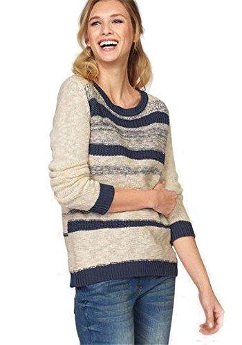 Pullover wollweiß-marine Gr. 36