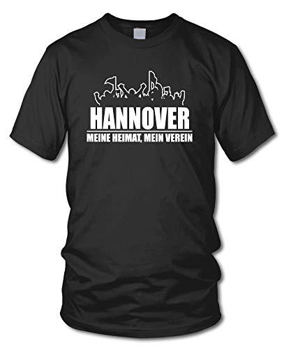 shirtloge - Hannover - Fanblock - Meine Heimat, Mein Verein - Fussball Fan T-Shirt - Schwarz - Größe M