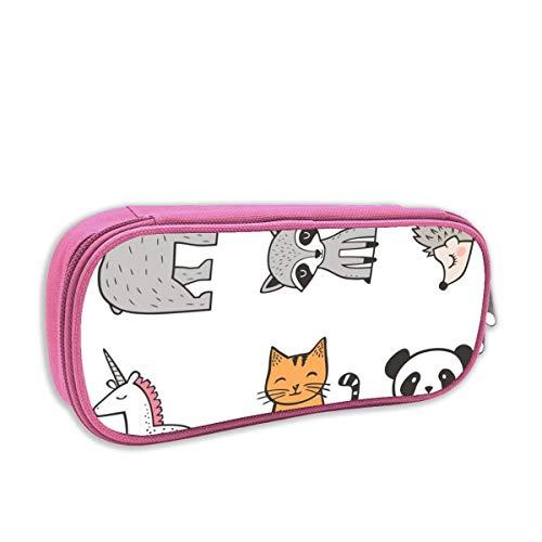 astuccio per bambini portatutto,Gatto, Panda, Orso, Procione, Riccio U0026 Unicorno Cuscino Plushie Softie Cut U0026 Sew_3273, rosa