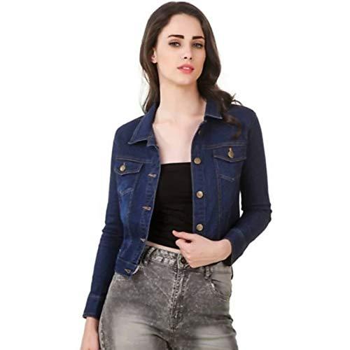 KING-DENIM Shree Kmt Enterprises Women's Denim Full Sleeves Comfort Fit Regular Collar Jacket (Blue, XL)