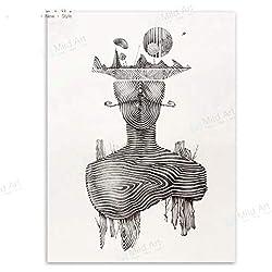 Impression sur Toile l'art De Mur,Surréalisme Abstrait Portrait Ligne Poster des Tirages Photos sur Toile Photo pour Salon Au Décor Minimaliste Moderne Accueil Peintures,28X40 Cm(70Cmx100Cm)