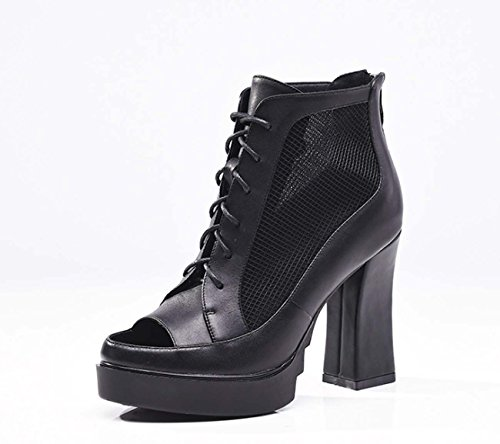 Frauen Europa Stil Neue High Heel Wasserdichte Plattform Sandalen Chunky Ferse Lace-up Casual Schuhe Net Garn Peep Toe Ankle Boot ( Color : Black , Size : 35 ) (Ferse-lace Boot Ankle Up)