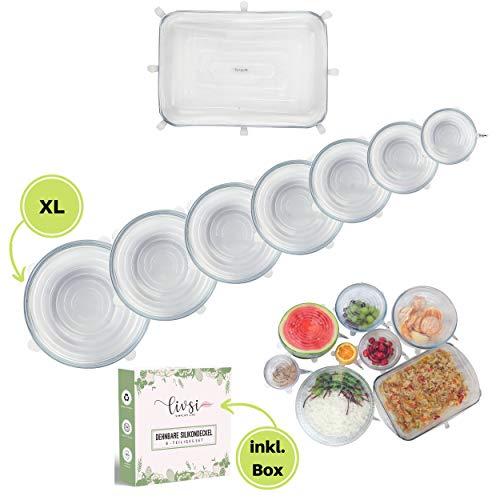 Livsi Dehnbare Silikondeckel BPA-frei, plastikfrei & nach deutschem Standard inkl. XL-Deckel & rechteckiger Deckel für Auflaufform, Wiederverwendbare Frischhaltefolie, Silikon Stretch Deckel, 8er-Set -