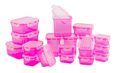 LOKI 36-teiliges Frischhaltedosenset mit 4-fach Frischeverschluss LK-1-36 | Geeignet für Mikrowelle, Spülmaschine und Gefrierschrank | auslaufsichere Spezialdichtung Pink