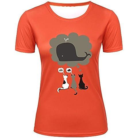 Three Cats Fantasy Imagination Dolphin Women's Fashion Tee Shirt