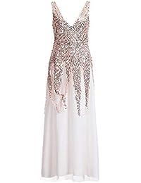cbdf43784773 BANAA Abito Donna Abito da Sera Abiti Lunghi Donna Eleganti Vestiti in  Pizzo Vestito con Paillettes