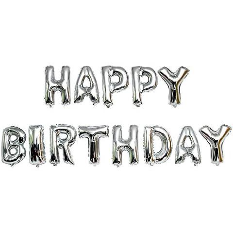 Gosear 13 piezas Globo de Foil de Aluminio Juguetes Niño para Decoración de Bodas Fiesta de Cumpleaños,Feliz Cumpleaños letras del