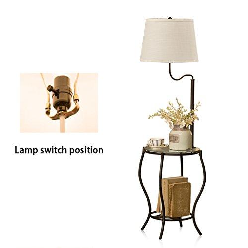 LILY Lampe de plancher de table basse minimaliste moderne, lampe de plancher pastorale fantaisie en fer forgé, la lampe de plancher de chambre salon nordique (Color : Black)