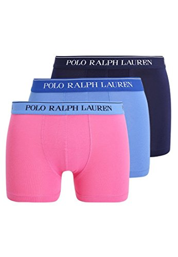 Polo Ralph Lauren Herren Boxershorts 3er Pack Classic Trunk (6 (Gr. Large), Marine/Blau/Rosa)