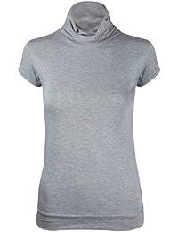 Damen Kurze Flügelärmel Geraffte Polo Rollkragen Damen Stretch T-Shirt Top Übergröße