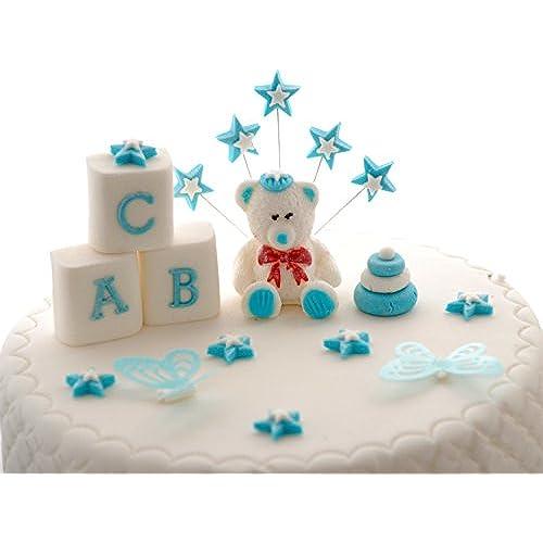Edible Blue Teddy Bear Set Baby Boy Birthday / CHRISTENING / Baby Shower  Handmade Sugarpaste Cake Topper Decoration