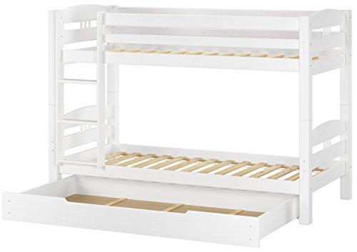 Erst-Holz® Etagenbett Kiefer waschweiß 90x200 mit Rollrost Bettkasten Kinderstockbett Hohes Bett 60.10-09WS1 -