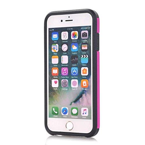 iPhone 7 Coque, Lantier 2 en 1 Combo Classic Design High Impact antichoc en silicone souple et dur PC lourd protection Duty cas Couverture arrière pour Apple iPhone 7 Noir Hot Pink