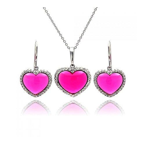 Rhodium beschichtetes Set aus Sterling Silber Herz rosa Zirkonia Ohrreifen & Halskette Set (10k White Gold Rosa Herz Ring)