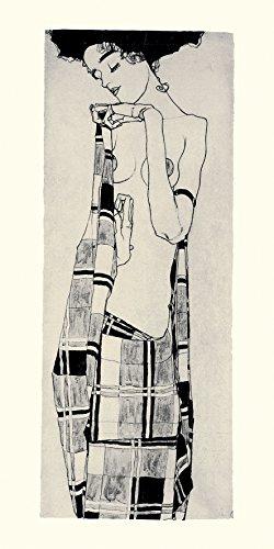 Unbekannt Poster 50x 100cm Gerti Schiele Drapierung Karo/Gerti Schiele in a Plaid DJ Garment/Gerti Schiele in kariertem Tuch Egon Schiele (1890–1918)
