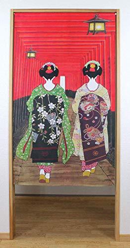 Narumi narumikk Noren (Cortina Japonesa) Geisha Girls at Fushimi Inari Shrine 85 cm x 150 cm de Japón 14271 14-271
