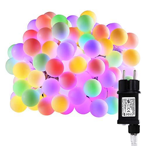 100er LED Globe Lichterkette, VegaHome Party Lichterkette Bunt Strombetrieben 10m RGB Kugel Innen Außen Lichterkette für Weihnachten Balkon Terrasse Hochzeit Halloween Weihnachtsbaum Deko, ()