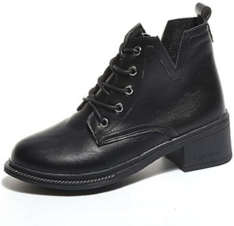 desy de mujer Zapatos PU (Poliuretano) Otoño Invierno ergonómico Botas bajo botas/Media Caña cordones para Casual...