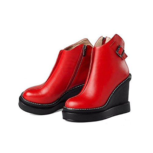 YYH Damen Winter Gürtelschnalle Runde Kopf Wedges Stiefel wasserdicht nackt Leder Plattform hoch Bootie , red , 37