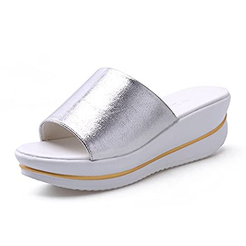 Summer sandals Women's Sandals Comfort PU Spring Summer Casual Dress Comfort Platform Gold Black Silver Flat Color / size optional ( Color : Silver , Size : EU41/UK7.5-8/CN42 )